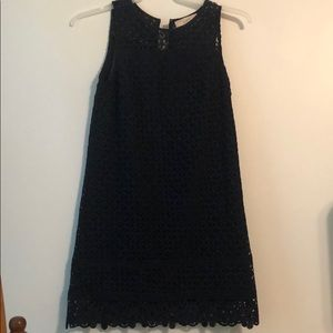 Small navy loft dress with scallop pattern